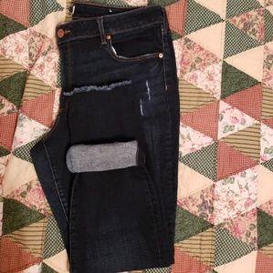 Plus Curvy Frayed Dark Indigo Skinny Jeans